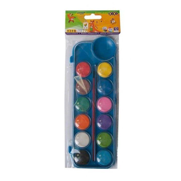 Фарби акварельні ZiBi в пластиковом синем пенале с кисточкой 12 цветов (ZB.6559-02)