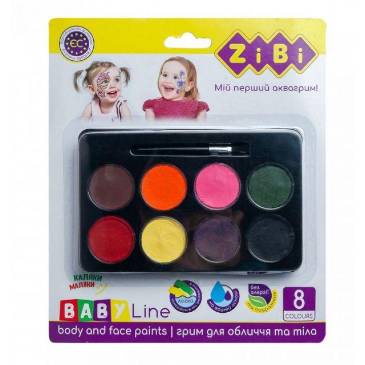 Фарби для обличчя з тальком ZiBi Baby Line на водной основе 8 цветов (ZB.6567)