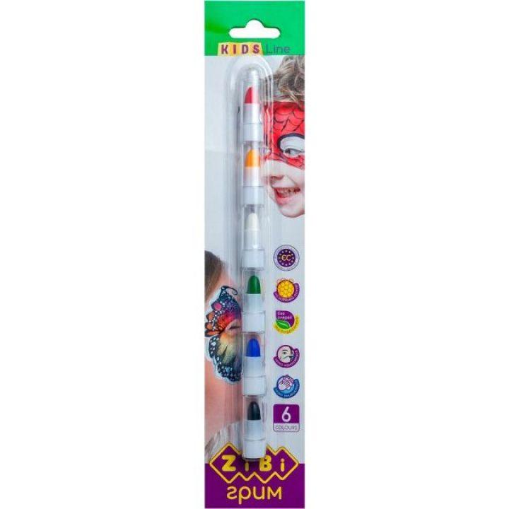 Олівці для гримування обличчя і тіла ZiBi Kids Line 6 цветов (ZB.6569)