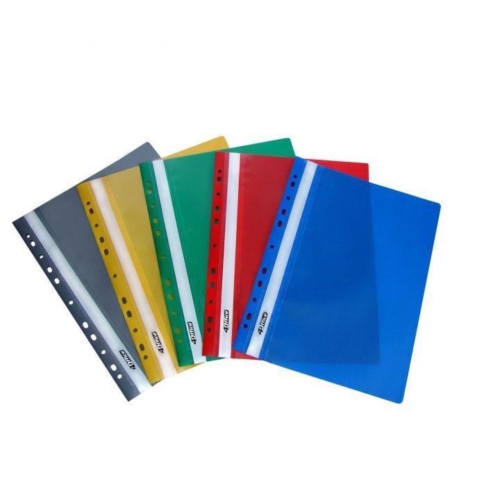 Набір швидкозшивачів А4 пластикових з перфорацією 4OFFICE цвет в асортименті 10 шт (4-270)