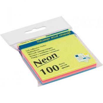 Блок бумаги для заметок 76 х 76 мм неон 4 цвета х 25л