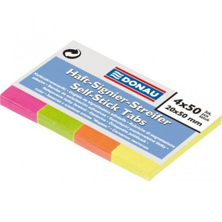 Закладки паперові з клейким шаром Donau 20 х 50 мм 50 листов 4 цвета 200 шт (7576001PL)