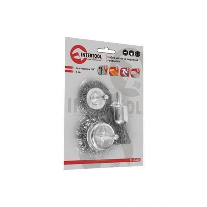 Набір щіток дротяних для дрилі , 1/4 INTERTOOL 3 шт (BT-0300)