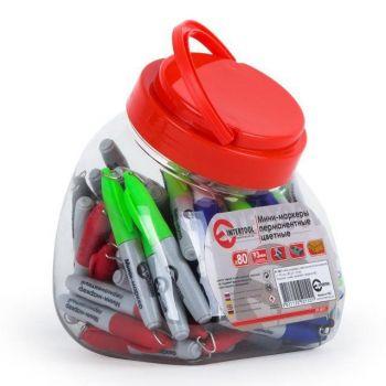 Міні-маркери перманентні кольорові, L = 93 мм, 80 шт / упак. (Чорний, синій, зелений, червоний)