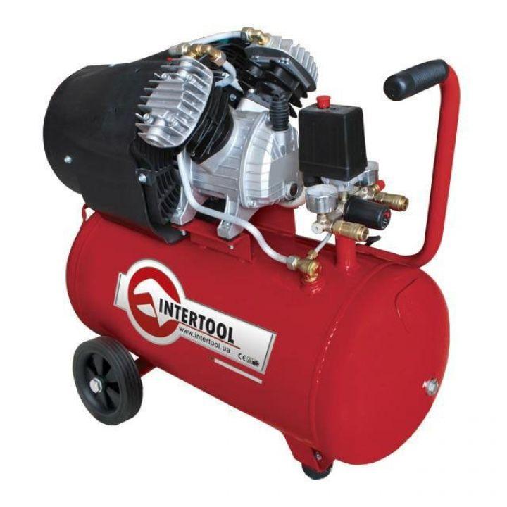 Компресор 50л, 4HP, 3кВт, 220В, 8атм, 420л / хв, 2 циліндр. INTERTOOL (PT-0007)